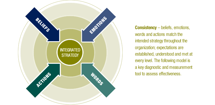 Beliefs, Emotions, Words, Actions, Integrated Strategy - Consistency - beliefs, emotions, words and actions match the intended strategy throughout the organization; expectations are established, understood and met at every level. The  following model is a key diagnostic and measurement tool to assess effectiveness.